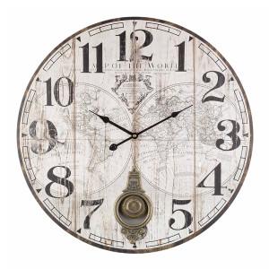 Ceas de perete cu pendul lemn model Glob Pamantesc 6 cm x ø 58 cm