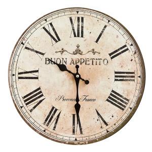 Ceas de perete lemn rotund vintage Buon Apetito ø35