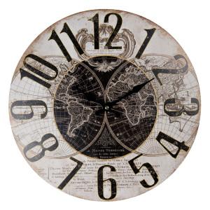 Ceas de perete din lemn maro negru Harta Lumii Ø 34 cm x 4 cm
