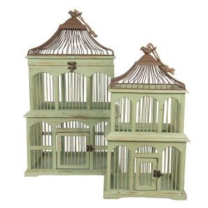 Set 2 colivii suspendabile din lemn verde antichizat si metal maro 40 cm x 34 cm x 70 h; 30 cm x 24 cm x 55 h