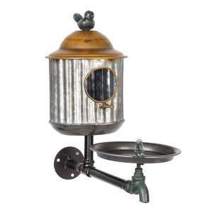 Casuta suspendabila pentru pasari din fier gri maro 39 cm x 16 cm x 37 h