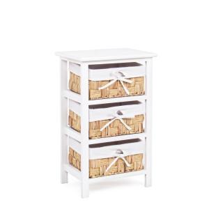 Comoda 3 sertare lemn rattan alb natur 38 cm x 27 cm x 61h