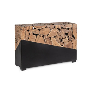 Consola din lemn natur si otel negru Grenada 120 cm x 40 cm x 80 h
