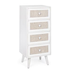 Comoda 4 sertare din lemn alb patinat cu insertie din textil crem Montiel 38 cm x 30.5 cm x 91 h