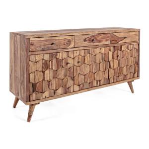 Comoda 3 sertare si 3 usi din lemn maro Kant 132 cm x 40 cm x 77 h