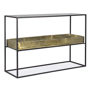 Consola din fier negru auriu Mavila 117 cm x 40 cm x 85 h