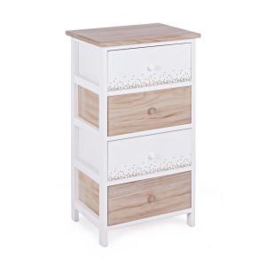Comoda cu 4 sertare din lemn alb natur Ally 40 cm x 29 cm x 73 h