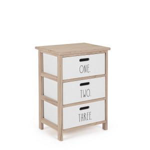 Noptiera cu 3 sertare din lemn alb natur Numbers 40 cm x 29 cm x 58 h