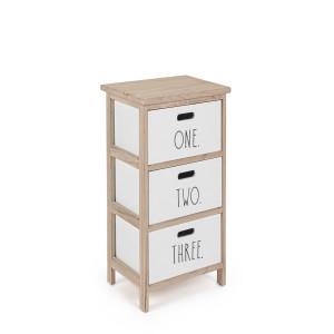 Noptiera cu 3 sertare din lemn alb natur Numbers 26 cm x 32 cm x 62 h