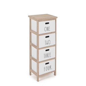 Comoda cu 4 sertare din lemn alb natur Numbers 26 cm x 32 cm x 80 h