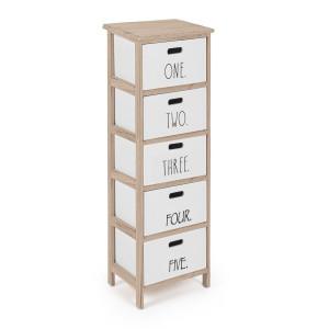 Comoda cu 5 sertare din lemn alb natur Numbers 26 cm x 32 cm x 98 h
