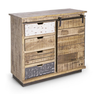 Comoda cu 4 sertare si 1 usa mobila din lemn mango maro gri Tudor 90 cm x 35 cm x 85 h