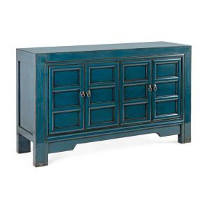 Comoda cu 2 usi din lemn albastru patinat Jinan 133 cm x 40 cm x 82 h