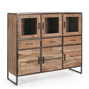 Comoda cu 6 usi si 3 sertare din lemn maro si cadru fier Elmer 135 cm x 40 cm x 120 h