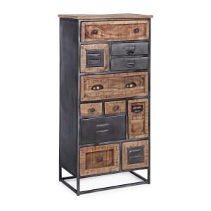 Comoda cu 11 sertare din fier negru si lemn mango maro Rupert 50 cm x 34 cm x 115 h