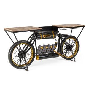 Consola tip Bar model Bicicleta din fier si lemn Epic 183 cm x 41 cm x 86 h