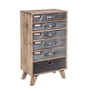 Noptiera 6 sertare din lemn maro si metal gri Officina 28 cm x 16.5 cm x 48 h