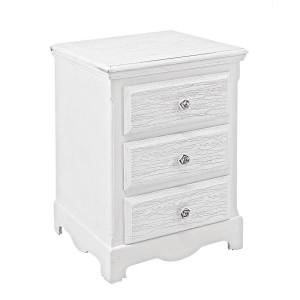 Noptiera 3 sertare din lemn alb cu patina gri Blanc 40 cm x 34 cm x 63.5 h