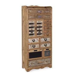 Comoda 14 sertare 2 usi din lemn maro si metal Sixtem 66 cm x 33.5 cm x 153.5 h