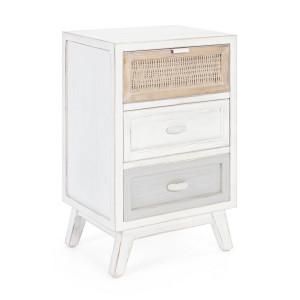 Noptiera 3 sertare din lemn alb patinat maro gri Clotilde 40 cm x 30 cm x 65 h
