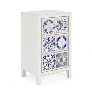 Noptiera 3 sertare din lemn alb si ceramica albastra Demetra 43 cm x 33 cm x 71 h