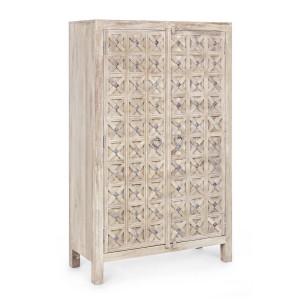 Dulap 2 usi din lemn natur Engrave 90 cm x 40 cm x 105 h