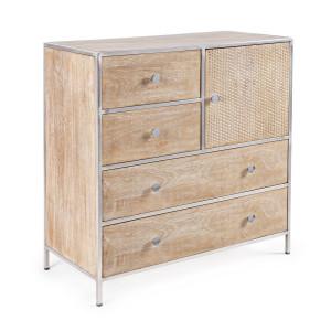 Comoda 4 sertare 1 usa din lemn natur cu cadru din fier Adiva 85 cm x 40 cm x 90 h