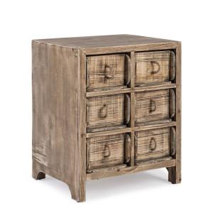 Noptiera 6 sertare din lemn maro Osiris 41 cm x 34 cm x 45 h