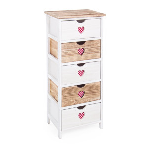 Comoda 5 sertare din lemn alb natur rosu Chalet 40 cm x 29 cm x 90 h