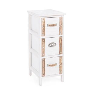Comoda 3 sertare lemn alb natur Romance 26 cm x 32 cm x 63 h
