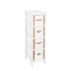 Comoda 4 sertare lemn alb natur Romance 26 cm x 32 cm x 81 h