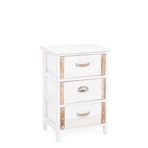 Noptiera 3 sertare lemn alb natur Romance 40 cm x 29 cm x 58 h
