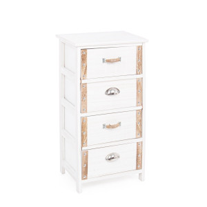 Comoda 4 sertare lemn alb natur Romance 40 cm x 29 cm x 73 h
