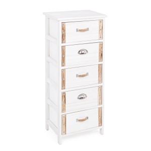 Comoda 5 sertare lemn alb natur Romance 40 cm x 29 cm x 90 h