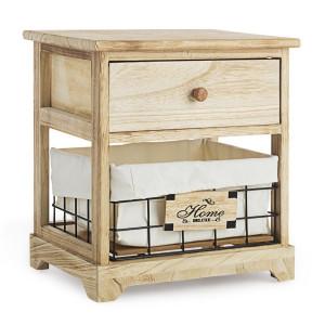 Noptiera 1 sertar 1 cos din metal si lemn natur Home Deluxe 37 cm x 27 cm x 40 h
