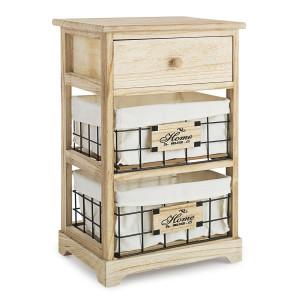 Noptiera 1 sertar 2 cosuri din metal si lemn natur Home Deluxe 37 cm x 27 cm x 58 h