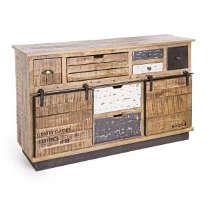 Comoda 7 sertare si 2 usi mobile din lemn mango Tudor 125 cm x 37 cm x 80 h
