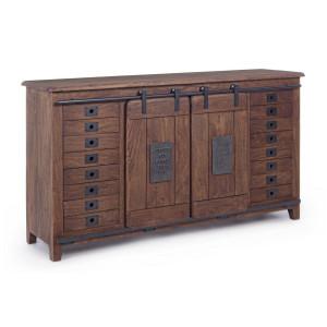 Comoda 8 sertare si 2 usi mobile din lemn mango natur Jupiter 168 cm x 43 cm x 94 h