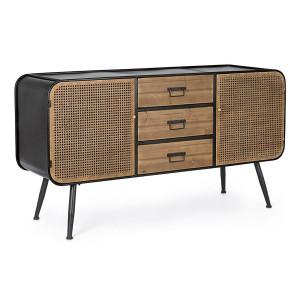 Comoda 3 sertare si 2 usi din lemn natur si fier negru Elton 145 cm x 45 cm x 78.5 h