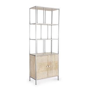 Biblioteca lemn natur si metal argintiu Adiva 70 cm x 35 cm x 190 h
