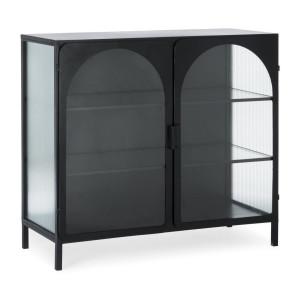 Comoda cu 2 usi 3 polite din fier negru si sticla Nerissa 111 cm x 46 cm x 99 h