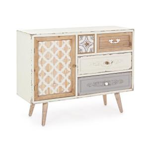 Comoda 4 sertare si  1 usa din lemn alb natur albastru antichizat Aurelie 105 cm x 35 cm x 80 h