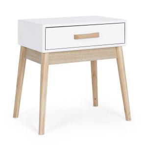 Noptiera 1 sertar lemn alb natur Ordinary 43 cm x 30 cm x 48 h
