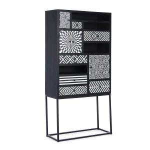 Dulap 4 usi 6 sertare lemn negru alb Janesh 180 cm x 40 cm x 85 h