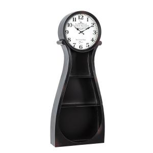 Raft de perete cu ceas metal negru Roland 38.5 cm x 12 cm x 98 h
