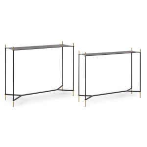 Set 2 console din fier negru auriu Anisha 97 cm x 29 cm x 79 h; 105 cm x 34 cm x 86.5 h