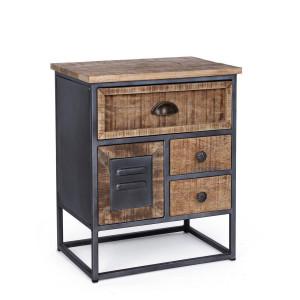 Noptiera cu 4 sertare din lemn mango maro si cadru fier negru Rupert 45 cm x 32 cm x 55 h