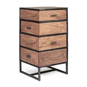 Comoda cu 4 sertare laterale din lemn maro si cadru fier negru cu patina argintie Egon 45 cm x 45 cm x 90 h