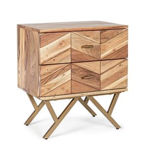 Noptiera cu 2 sertare din lemn maro si picioare din fier auriu Raida 50 cm x 35 cm x 55 h