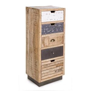 Comoda 5 sertare din lemn mango alb natur gri Tudor 45 cm x 35 cm x 110 h